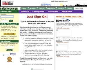 Salesforce.com website circa 1999, courtesy of Internet Archive Wayback Machine (https://archive.org/web/).